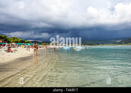 Tuscany , Italy 17 july 2018 : The weather situation affected from tropical storm on the beach - Stock Image