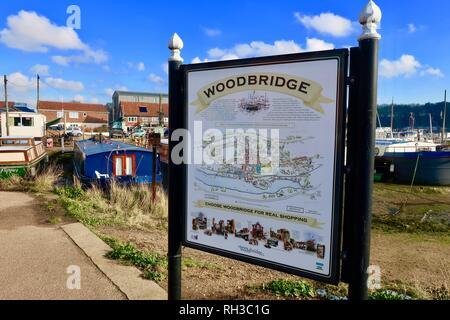 A guide to Woodbridge town. Woodbridge, Suffolk, UK, January 2019. - Stock Image