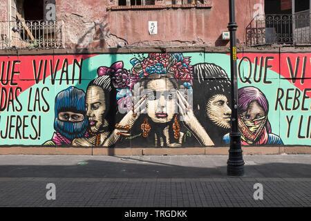 Street Art Mural Mexico City - Stock Image