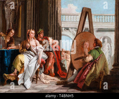 Giovanni Battista Tiepolo, Alexander the Great and Campaspe in the Studio of Apelles, painting c. 1740 - Stock Image