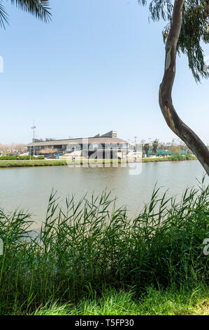 Israel, Tel Aviv-Yafo - 13 April 2019: Daniel Rowing centre, named after Daniel Amichai Marcus, designed by Plesener architects - Stock Image