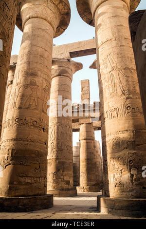 Great Hypostyle Hall, Temples of Karnak, Karnak, Luxor, Egypt - Stock Image