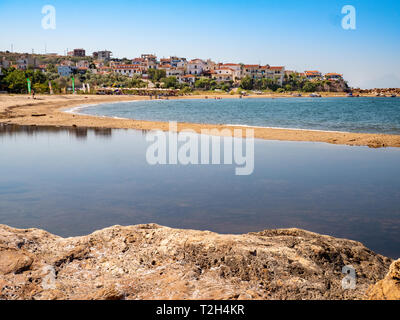 Skala Marion town and beach (Platanes Beach) in the southern part of Thasos Islang, Greece - Stock Image