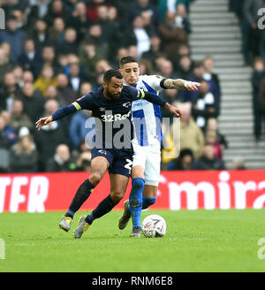 Ashley Cole of Derby battles for the ball with Anthony Knockaert of Brighton during the FA Cup 5th round match between Brighton & Hove Albion and Derby County at the American Express Community Stadium . 16 February 2019 - Stock Image