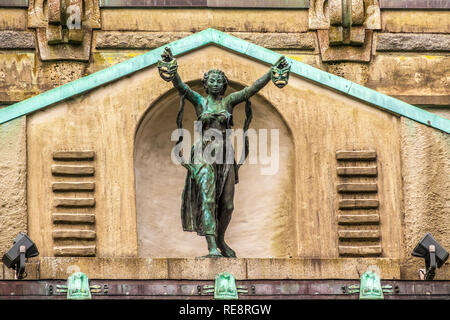 Statue On The Municipal Theatre, Bergen, Norway - Stock Image