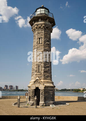 Roosevelt Island Lighthouse, New York, NY. Designed by James Renwick, Jr., the Gothic style stone light house completed - Stock Image