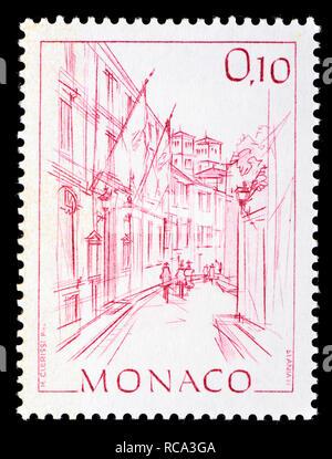 Monaco postage stamp (1984): Early Views of Monaco definitive series: City hall / Hotel de Ville - Stock Image