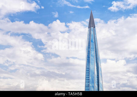 SAINT PETERSBURG. RUSSIA - May 21 2019. Skyscraper 'Lakhta center' (Gazprom headquarters) against cloudy sky - Stock Image