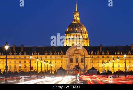 The cathedral of Saint Louis at night, Paris. - Stock Image