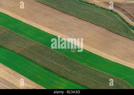 Aerial View Of Power Lines Over Farm, Pennsylvania, USA - Stock Image