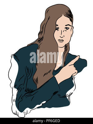 index finger  illustration of beautiful woman pointing index finger. - Stock Image