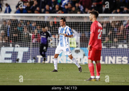 Estadio Municipal de Butarque, Leganes, Spain. 15th Apr, 2019. La Liga football, Leganes versus Real Madrid; Jonathan Silva (CD Leganes) celebrates his goal which made it 1-0 in the 45th minute Credit: Action Plus Sports/Alamy Live News - Stock Image
