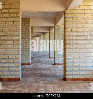 Background of row of sequential stone brick walls - Stock Image