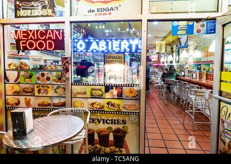 Miami Beach Florida North Beach Collins Avenue La Perrada De Edgar restaurant Mexican Colombian food casual fast food - Stock Image