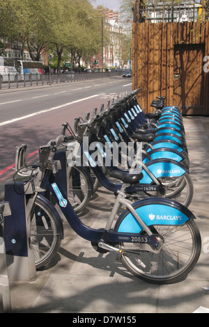 Bikes for hire at Marylebone Road London - Stock Image