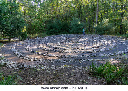The Labyrinth, a contemplation maze, at Edith J. Carrier Arboretum, James Madison University, Harrisonburg, Virginia USA - Stock Image