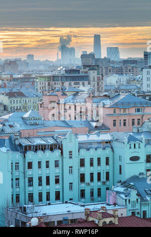 Cityscape, vintage houses, Moscow, Russia - Stock Image