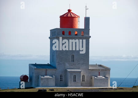 Icelandic ighthouse against clear sky - Stock Image