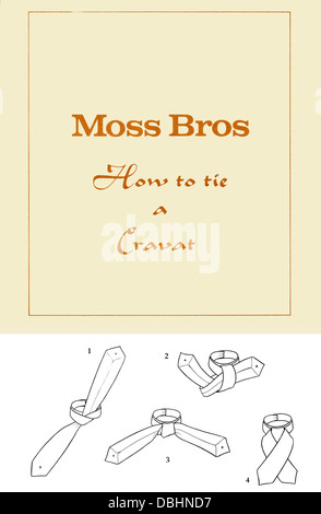 Moss Bros Instructions on How to Tie a Cravat Probably 1950s - Stock Image