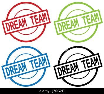 DREAM TEAM text, on round simple stamp sign, in color set. - Stock Image