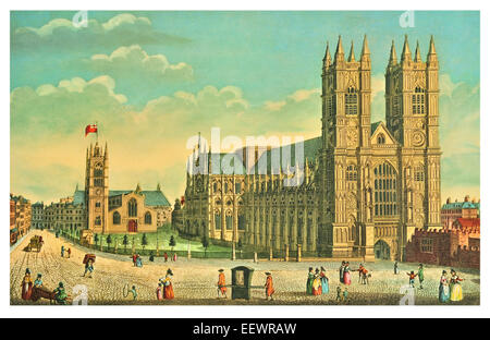 Westminster Abbey & St Margaret's Church 1793 London England Georgian cobbles street Collegiate Gothic - Stock Image