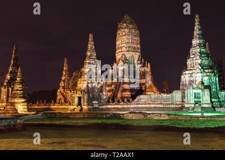 Wat Chaiwatthanaram at night, Ayutthaya, Thailand. - Stock Image