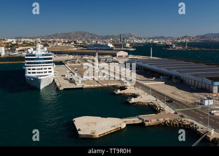 Cruise ship moored at a terminal in the commercial port of Marseilles, Provence, France, Europe, Provence, France, Europe - Stock Image