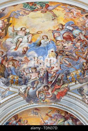 CATANIA, ITALY - APRIL 7, 2018: The fresco of Coronation of Virgin Mary in church Chiesa di San Benedetto by Giovanni Tuccari (1667–1743). - Stock Image