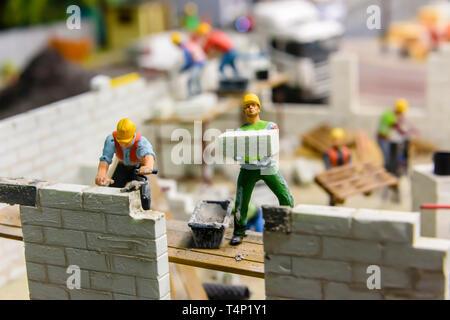 Miniature model of a building site , at Kolejkowo, Wrocław, Wroclaw, Wroklaw, Poland - Stock Image
