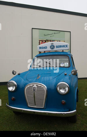 Chichester, West Sussex, UK. 13th Sep, 2013. Goodwood Revival. Goodwood Racing Circuit, West Sussex - Friday 13th September. Vintage blue Austin RAC road service vehicle on display at the festival. © MeonStock/Alamy Live News - Stock Image