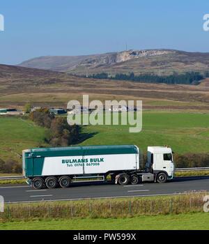 Bulmans Bulk & Haulage HGV. M6 Northbound carriageway, Shap, Cumbria, England, United Kingdom, Europe. - Stock Image