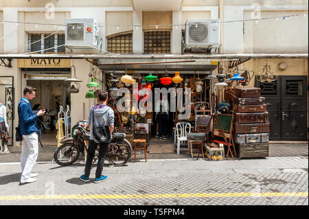 Israel, Tel Aviv-Yafo - 24 April 2019: Shop in Shuk hapishpeshim flea market - Stock Image