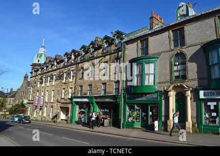 Buxton town centre, shops, museum and art gallery, Derbyshire, UK - Stock Image