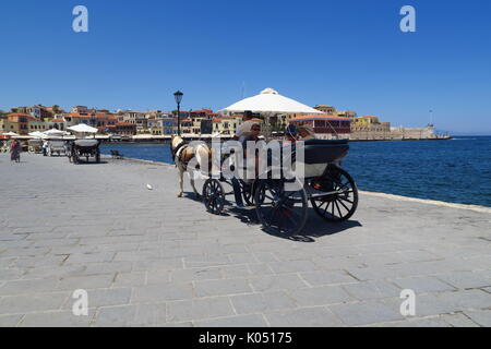Horse and cart hire service in the Cretan port of Chania - Stock Image