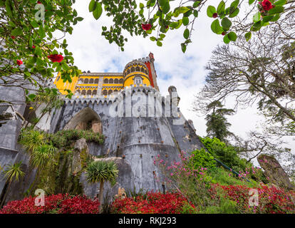 View on Pena palace, Sintra, Portugal - Stock Image