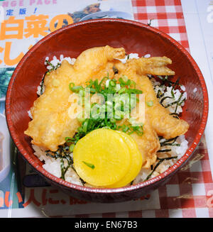 Fugu tendon (fugu tempura on rice). Fugu (pufferfish) is  known for its poisonous potential. Japan; Japanese food; - Stock Image