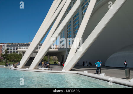 Exterior closeup architectural detail of the Science Museum, City of Arts and Sciences, Valencia, Spain. - Stock Image