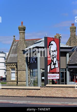 KFC Restaurant sign, Central Drive, Morecambe, Lancashire, England, United Kingdom, Europe. - Stock Image