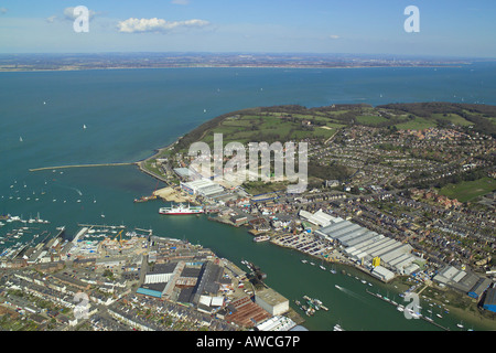 Panoramic aerial view of Cowes & East Cowes on the Isle of Wight featuring the ferry terminal, boat yards & - Stock Image