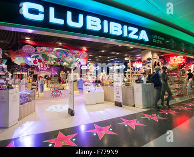 Club Ibiza shop that sells merchandise from the islands famous clubs at Ibiza airport - Stock Image