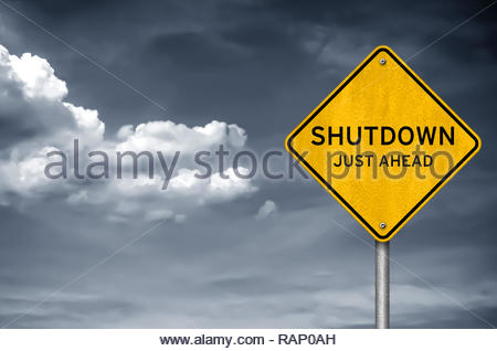 Government Shutdown - just ahead - Stock Image