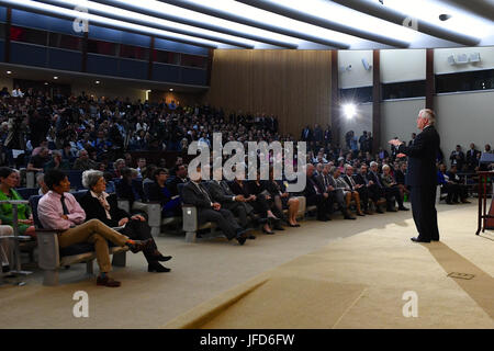 U.S. Secretary of State Rex Tillerson addresses State Department employees at the Department in Washington, D.C., - Stock Image