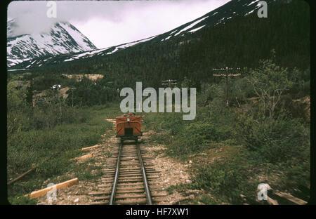 Push car, rail car, on the railroad of White Pass; British Columbia, Canada. - Stock Image