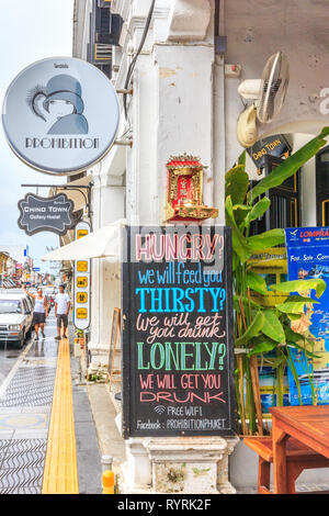 Phuket, Thailand - 11th April 2017: Sign outside a cafe bar on Yaowarat Road. Many cafes have sprung up in the city. - Stock Image