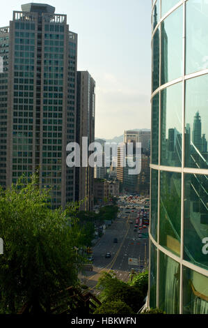 Seoul city street view from top in summer in Korea - Stock Image