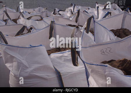 A view looking across the tops of a group of full, white hippo bags with gritty soil inside and the sea in the background - Stock Image