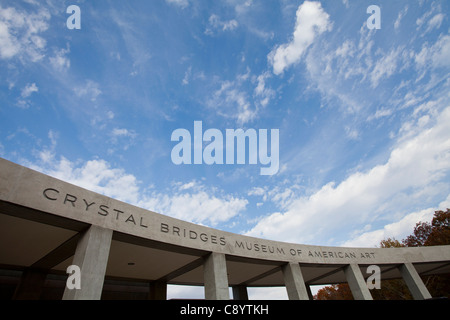 The main entrance to Crystal Bridges Museum of American Art in Bentonville, Ark. - Stock Image