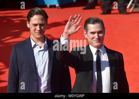 Karlovy Vary, Czech Republic. 28th June, 2019. US actor Billy Crudup, right, and his son William Parker arrive to the opening ceremony of the 54th Karlovy Vary International Film Festival begins on June 28, 2019, in Karlovy Vary, Czech Republic. Credit: Slavomir Kubes/CTK Photo/Alamy Live News - Stock Image