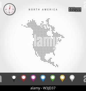 Dots Map of North America. Simple Silhouette of North America. Realistic Vector Compass. Set of Multicolored Map Markers. Vector Illustration. - Stock Image
