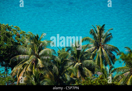View over clear blue water Nai Harn near Cape Promthep - Stock Image